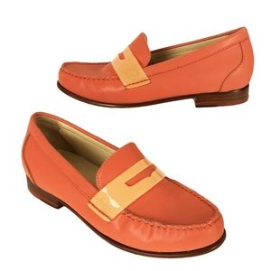 Cole Haan Monroe 5.5 B Orange Penny Loafers Flats